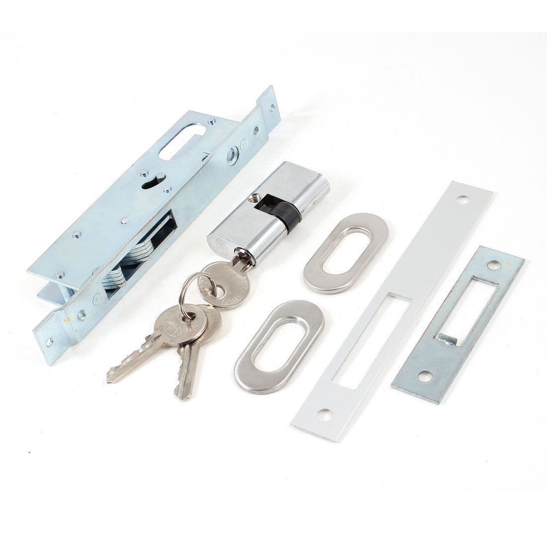 "Metal Sliding Door Hook Lock Deadbolt 23mm 0.91"" Backset w Keys"