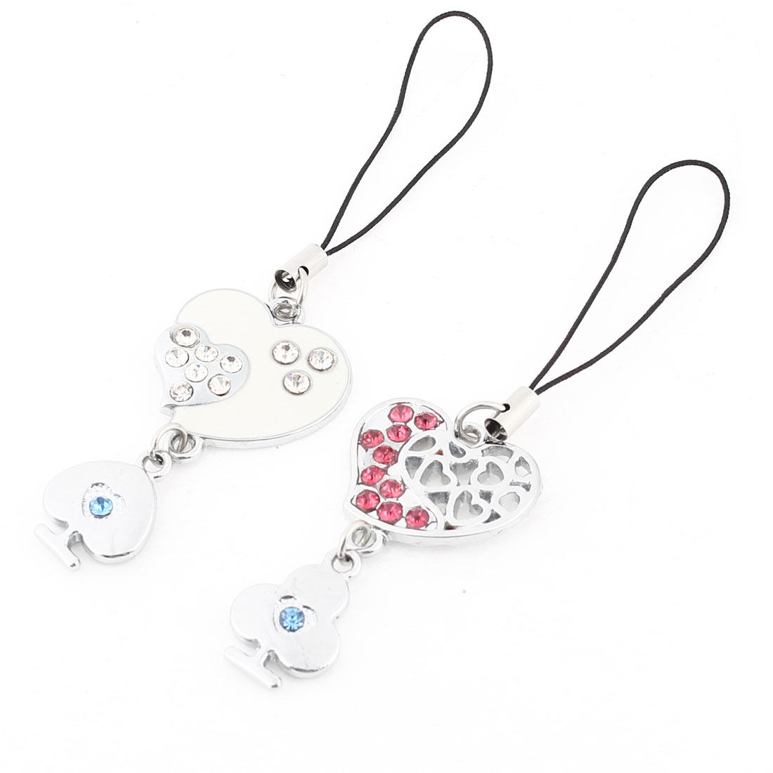 Heart Shape Pendant Cell Phone Straps Hanging Ornament Pair for Lovers