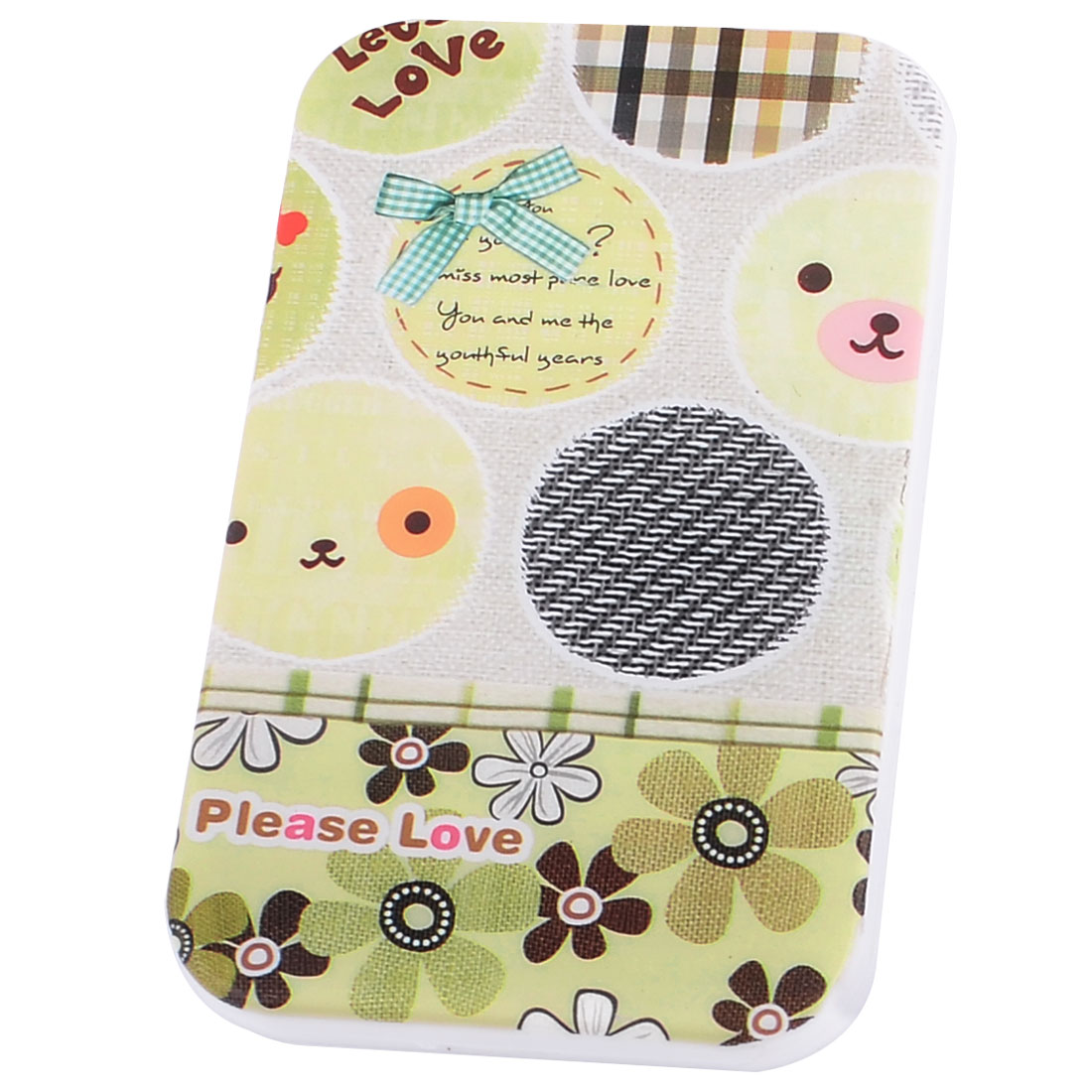 Light Yellow Flower Print Rectangular Folding Make-up Pocket Mirror w Comb