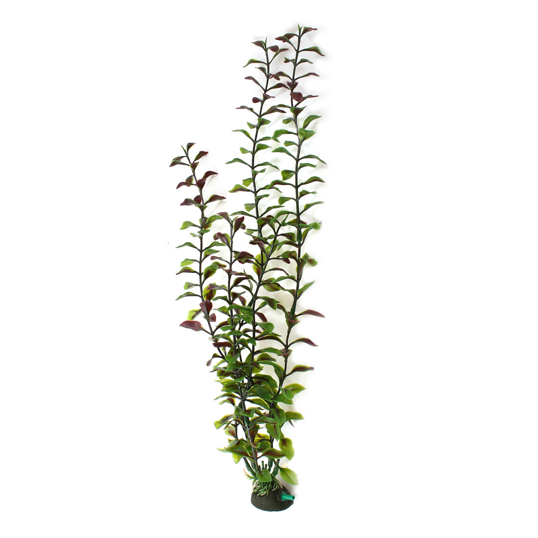 "17.3"" High Emulational Green Dark Red Plastic Plant w Air Stone Base"