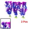 "Aquarium Landscaping Artificial Water Plant Decor Purple Blue 7.1"" Height 3pcs"