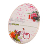 Portable Beige Rose Pattern Oval Shape Make Up Pocket Mini Mirror w Comb
