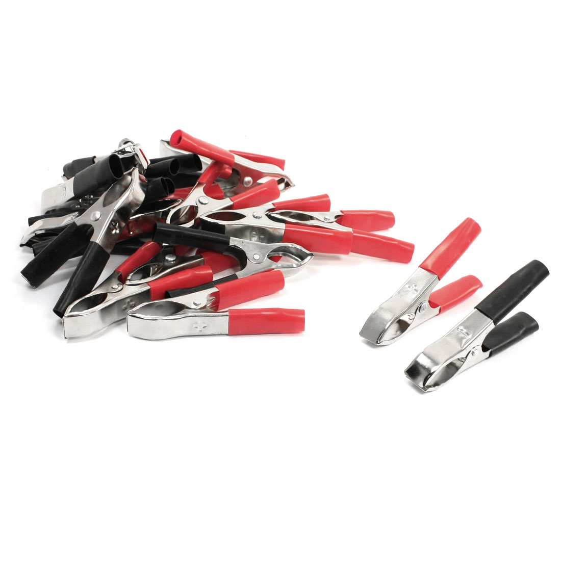 Black Red Insulated Handle Metal Clips Battery Test Clips 30A 20Pcs