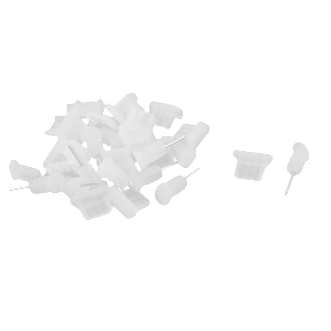 15 Pcs Clear White 3.5mm Micro USB Earphone Dust-proof Cap Stopper