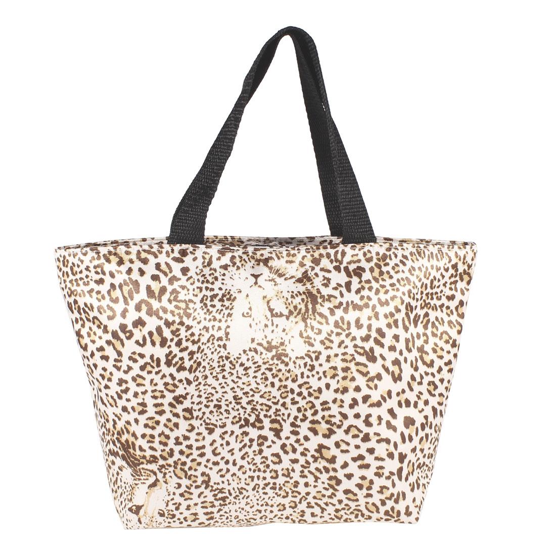 Woman Zippered Brown Beige Leopard Pattern Polyester Shopping Handbag