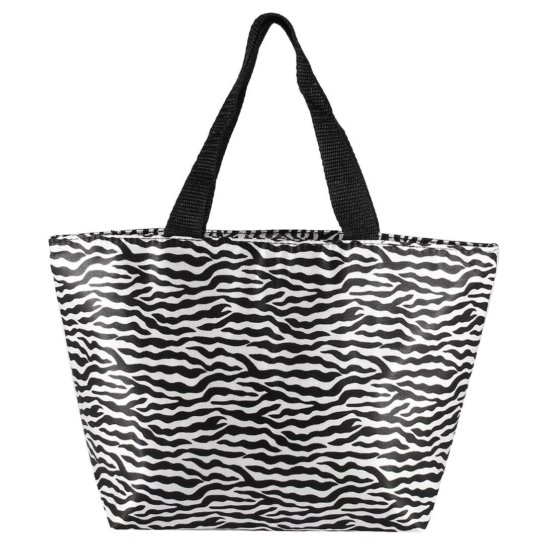 Lady Recycle Black White Zebra Pattern Zipper Shopping Bag Handbag