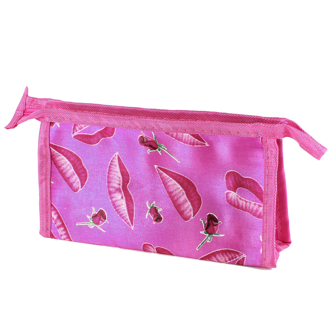Fuchsia Flower Lips Pattern Zipper Cosmetic Holder Pouch Bag for Lady