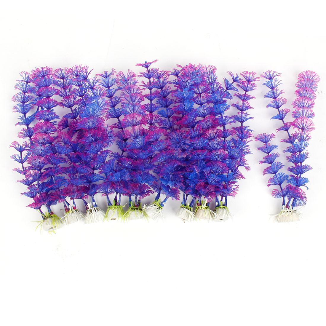 """8.3"""" Height Purple Blue Aquarium Aquascaping Simulation Aquatic Plant Ornament 10 Pcs"""