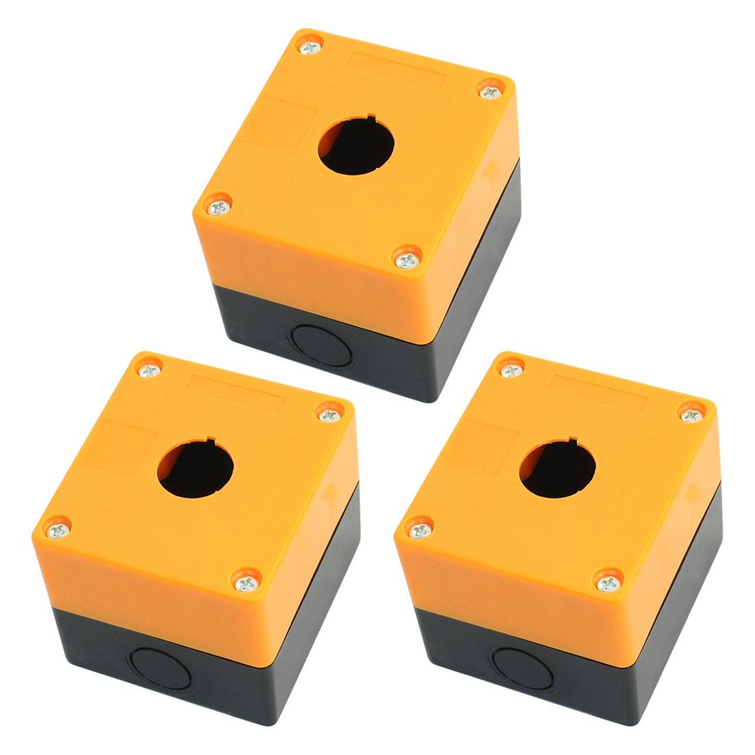 3pcs Single Hole 22mm Dia Plastic Push Button Switch Box Orange Black