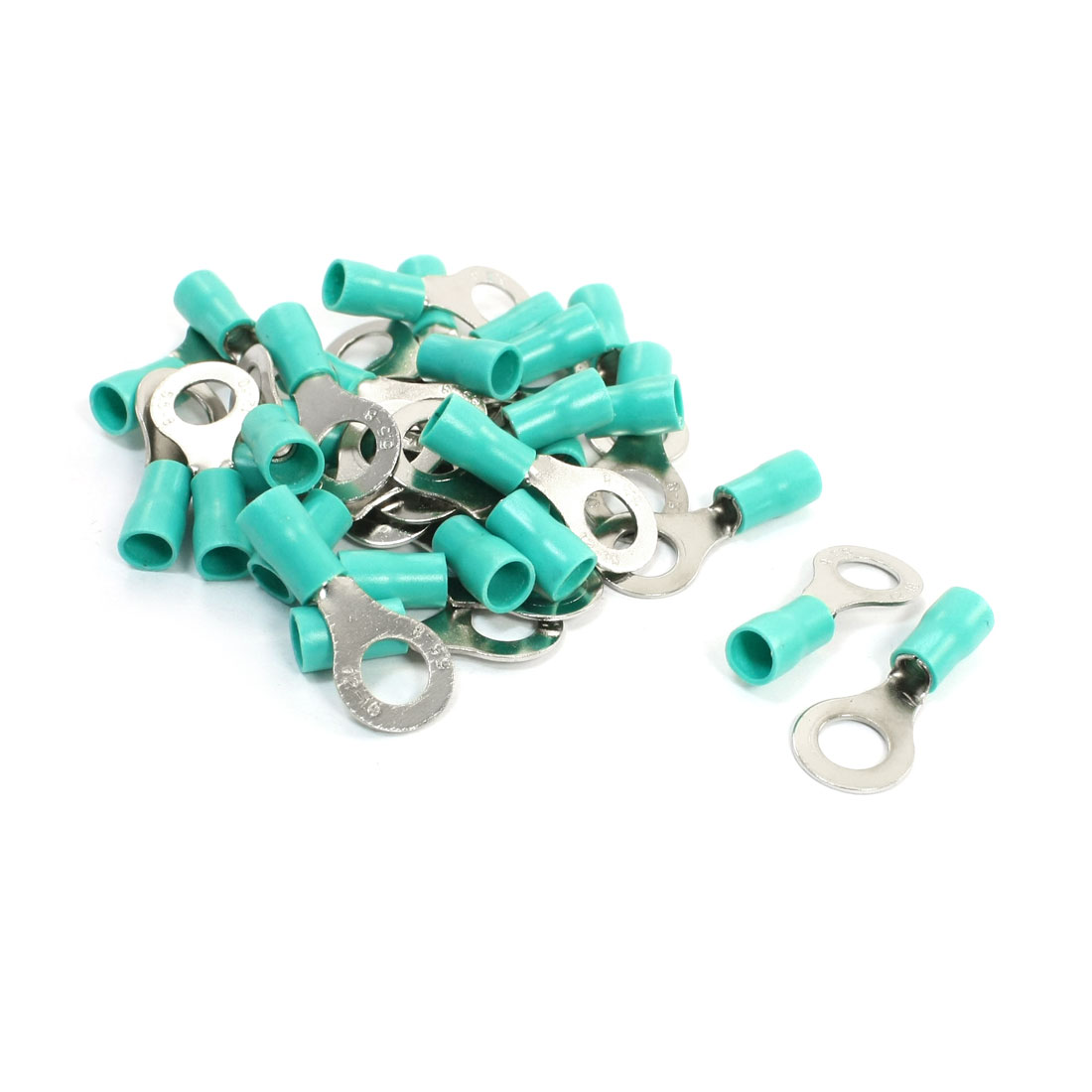 30PCS RV5.5-8 Green PVC Sleeve Pre Insulated Ring Terminals Connector AWG12-10