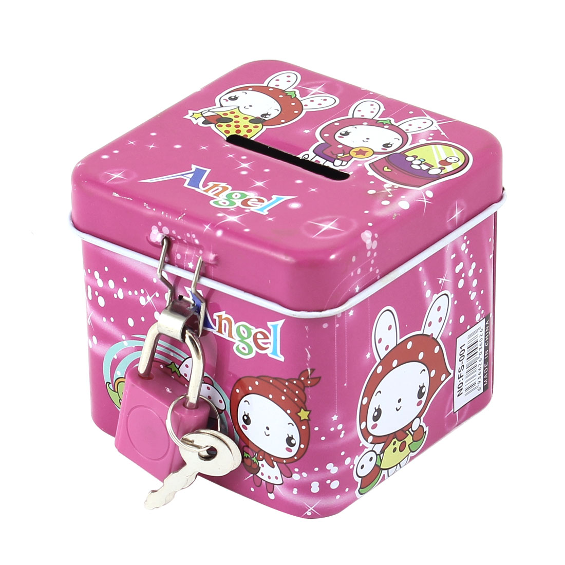 Square Shaped Cartoon Coin Money Saving Box Case Fuchsia