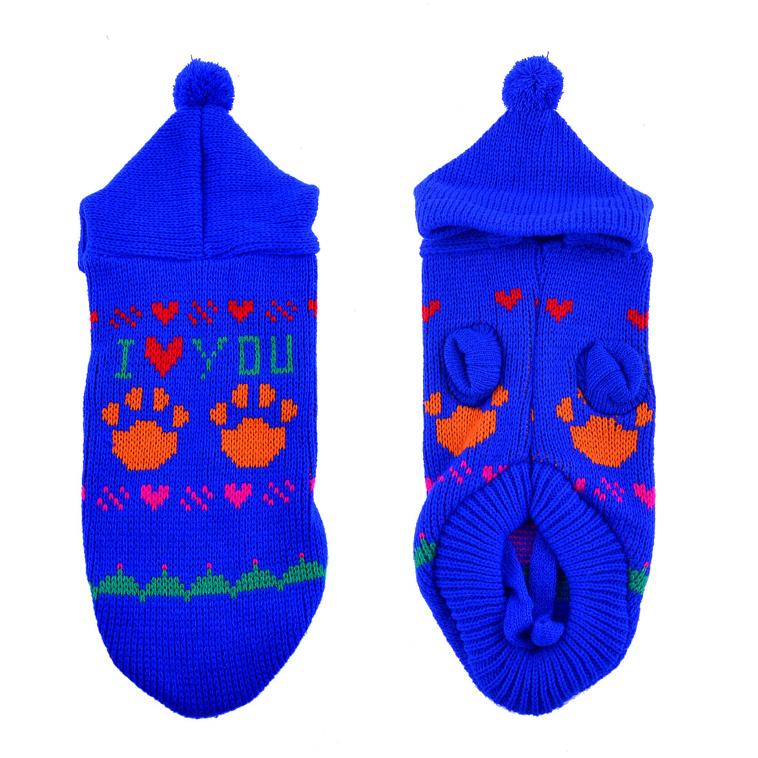 Pet Dog Yorkie Blue Knitting Heart Paw Printed Hoodie Sweater Costume Size XS