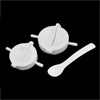 2 Pcs White Plastic Meat Pie Dumpling Mould Pastry Press Makers w Spoon