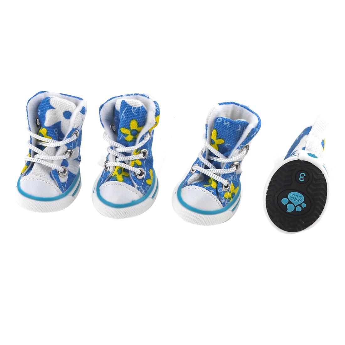 2 Pairs Run Walking Blue White Flower Printed Pet Dog Yorkie Shoes Size XS