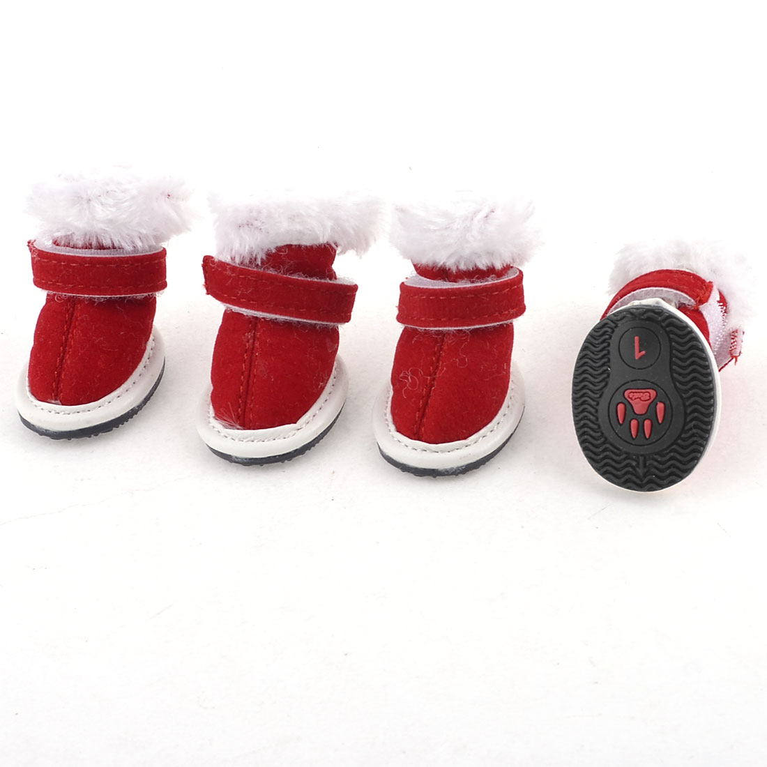 2 Pairs White Red Hook Loop Fastener Plush Brim Pet Dog Xmas Shoes XXS