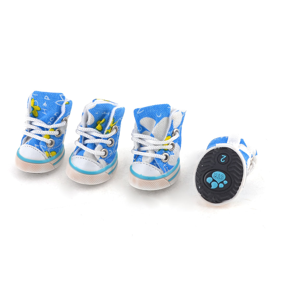 2 Pairs Blue White Flower Pattern Nylon String Pet Dog Cat Sport Shoes XS