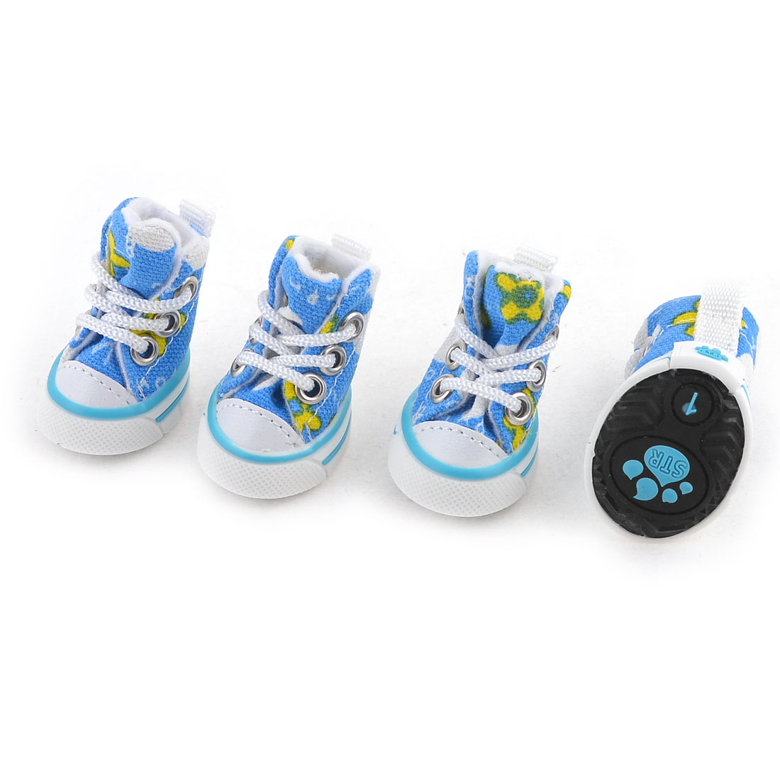 2 Pairs White Blue Rubber Sole Flower Print Pet Dog Shoes Sneakers XXS