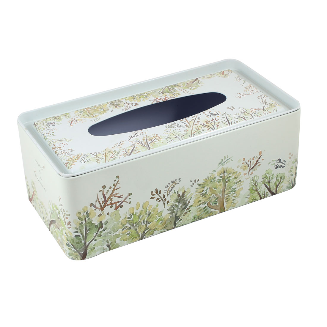 Rectangle Design Tree Pattern Metal Paper Tissue Box Holder Army Green