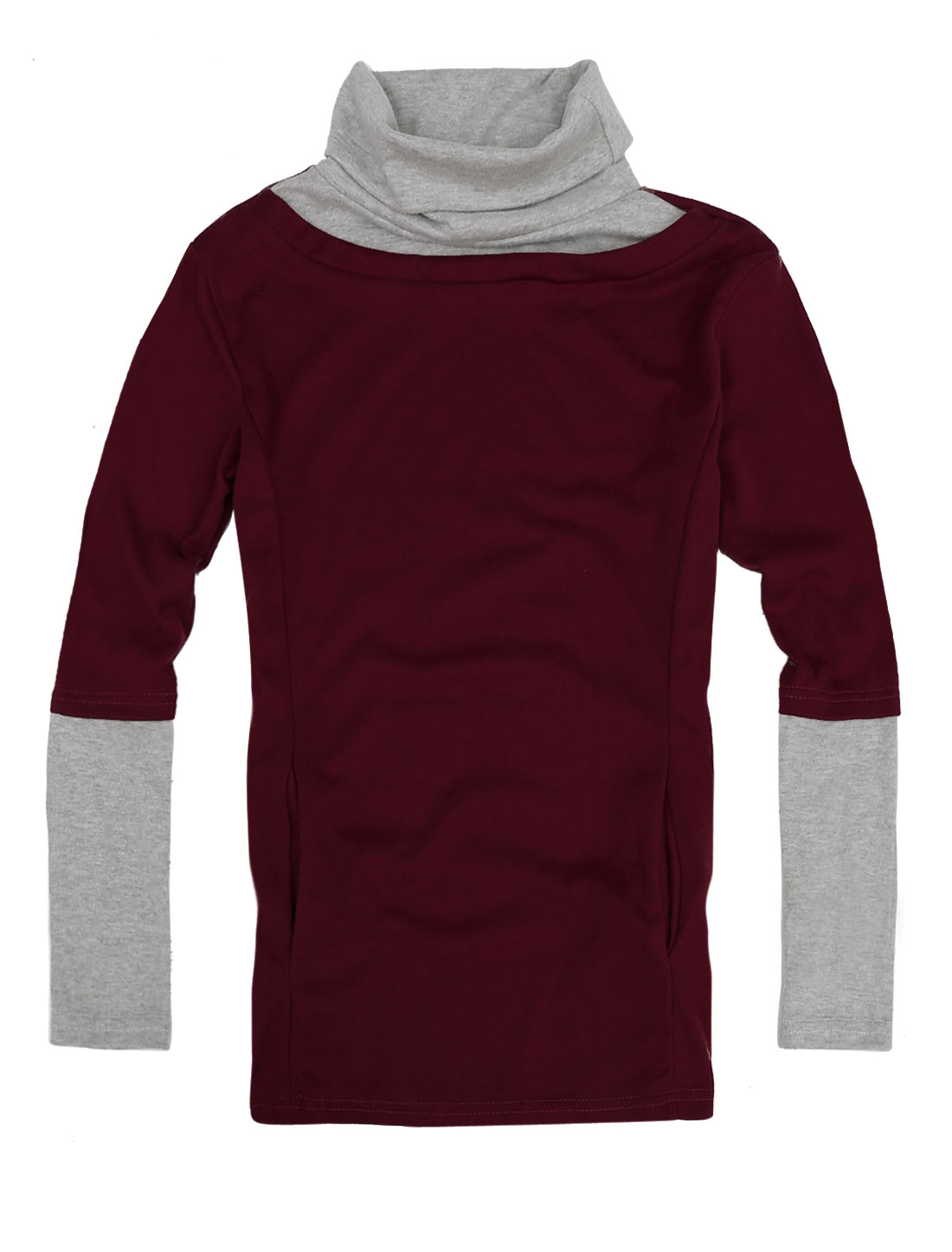 Women Turtle Neck Long Sleeved Elastic Casual Shirt Burgundy Light Gray XS