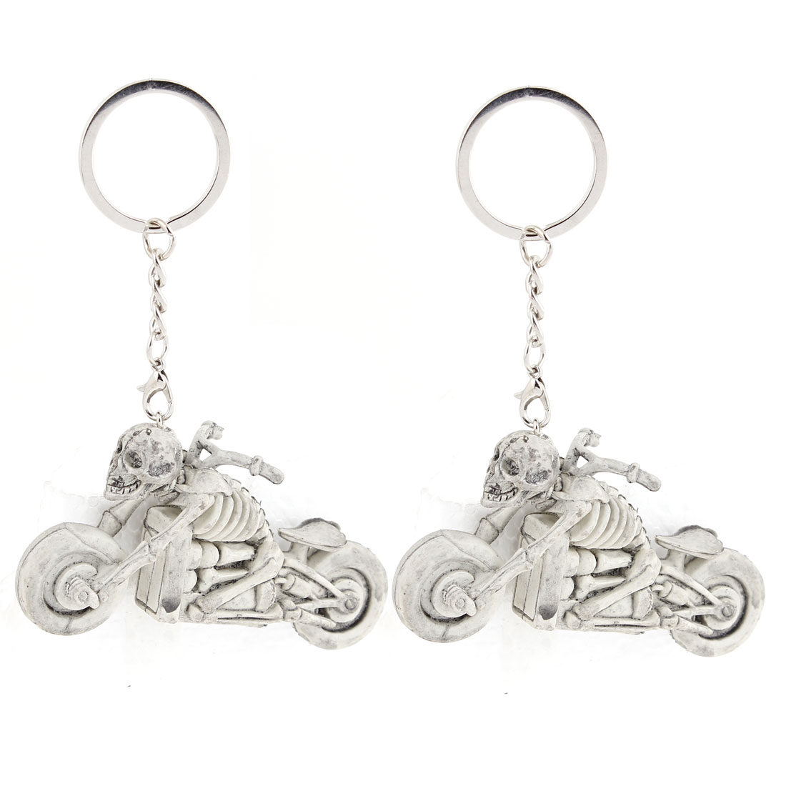 Pair Decorative Gray Plastic Skull Riding Motorcycle Dangling Pendant Key Ring