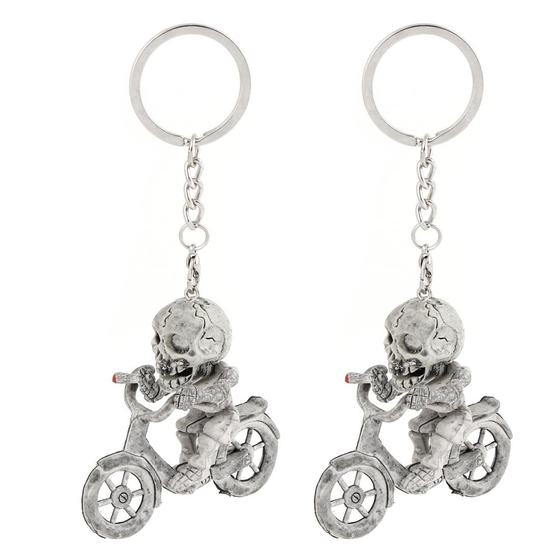 2 Pcs Gray Plastic Skull Ghost Riding Bike Pendant Spilt Ring Keyring 12cm Long
