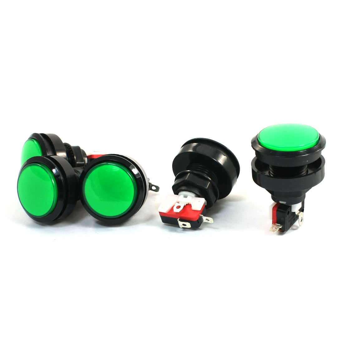 SPST Green Head Momentary Solder Game Machine Arcade Button Micro Switch 5Pcs