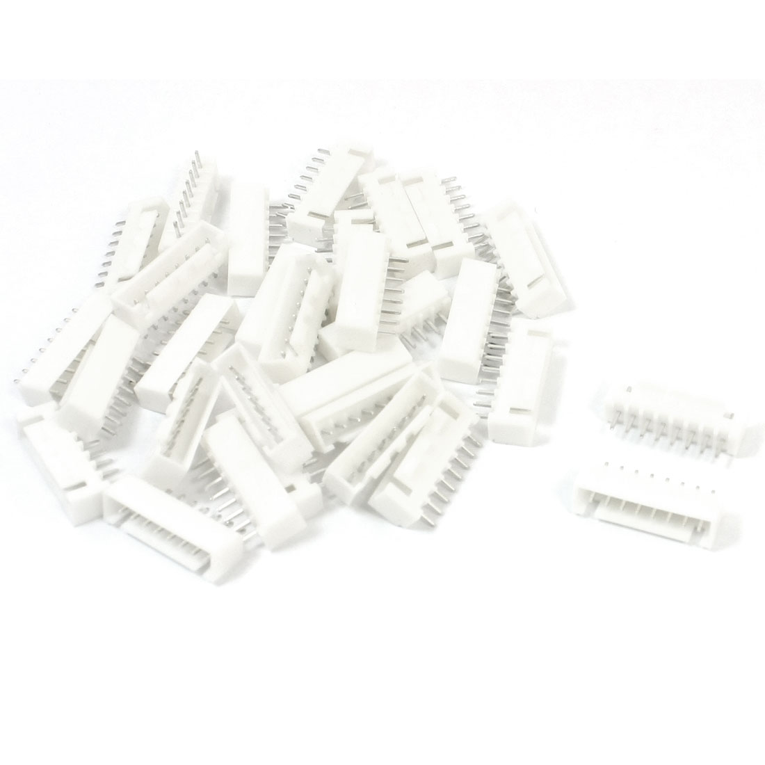 2.54mm Pitch 8Pin Straight Pins White PCB Mount Header Socket 30 Pcs