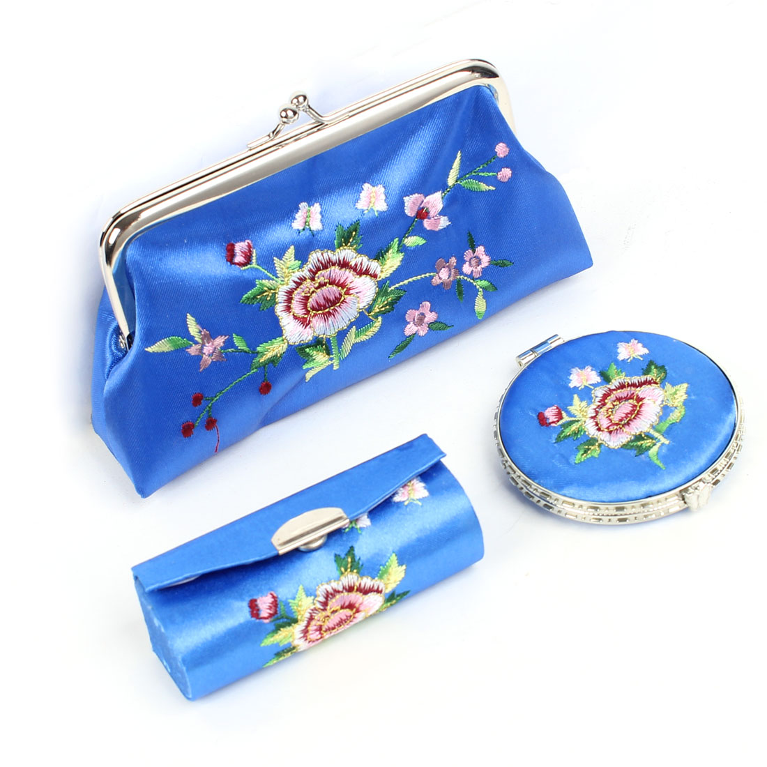 3 in 1 Floral Embroidered Kiss Lock Clasp Wallet Mirror Lipstick Holder Case Blue