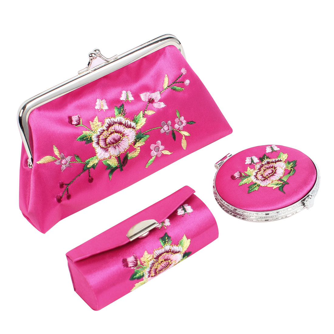 Flower Embroidered Kiss Lock Clasp Wallet Mirror Lipstick Holder Case Fuchsia 3 in 1