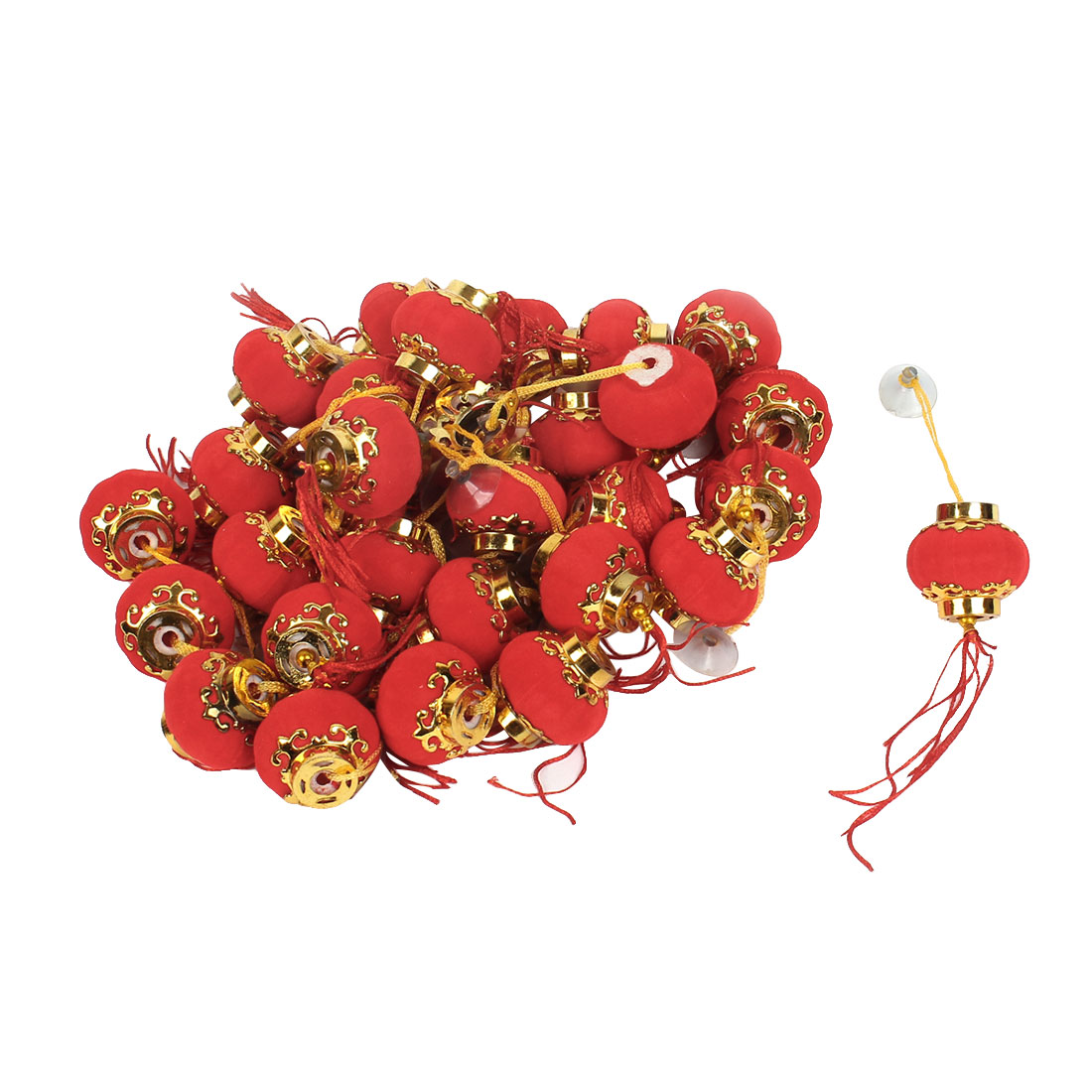 3.7cm Dia Pumpkin Shape Chinese Hanging Lantern Decoration Red 30 Pcs