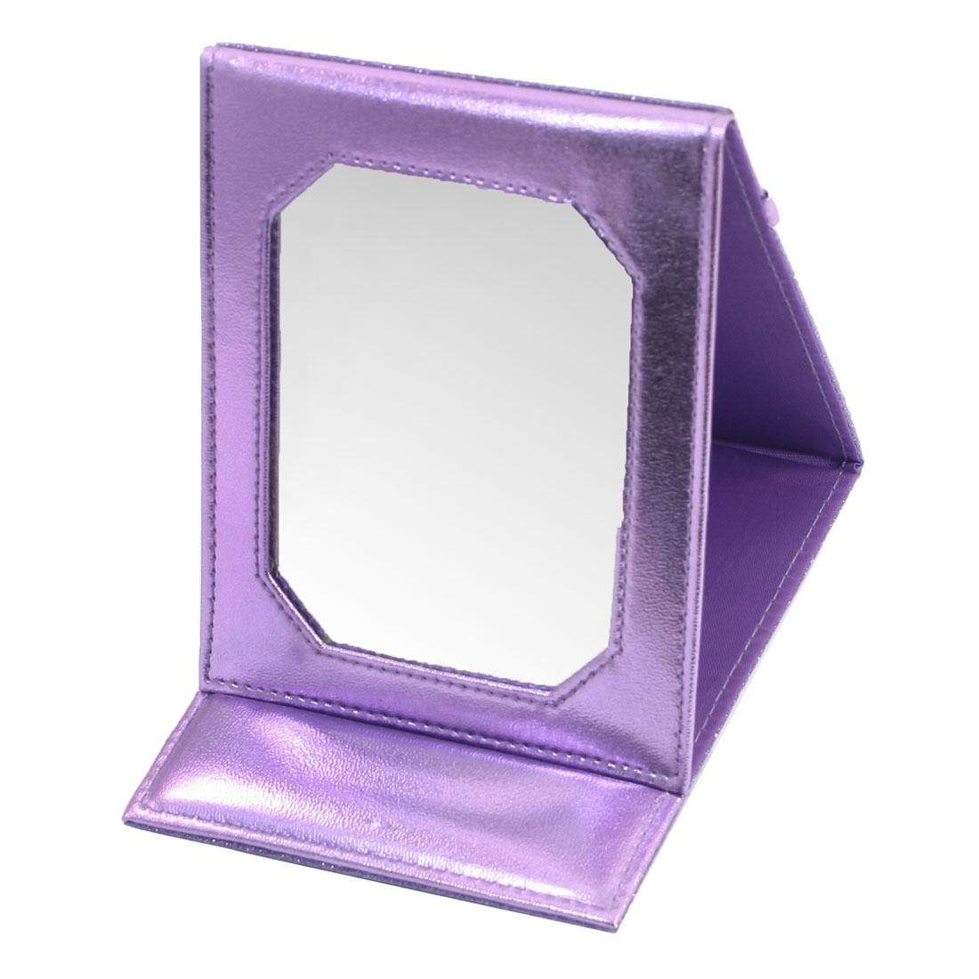 Rectangle Shape Purple Faux Leather Coated Foldable Cosmetic Mirror Stand