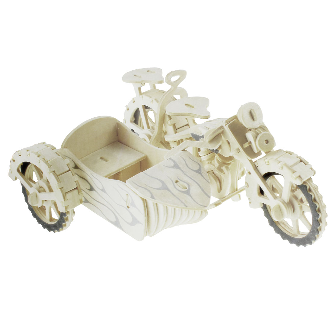 Creative Beige Cubic Cyclecar Model Wooden Puzzle Toy for Adults