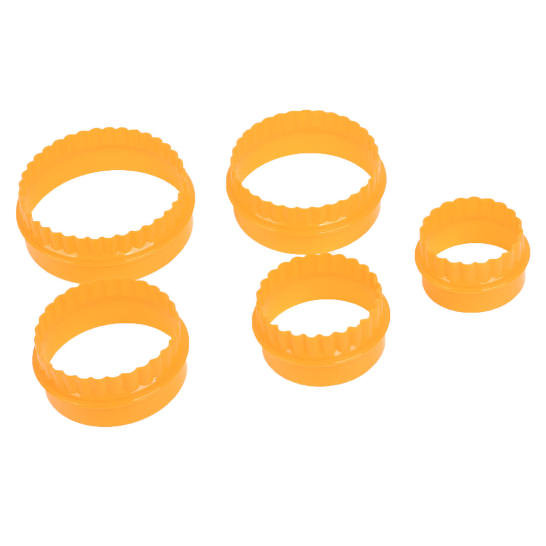 Round Shape Orange Plastic DIY Cookie Cake Cutter Mold Mould 5 in 1