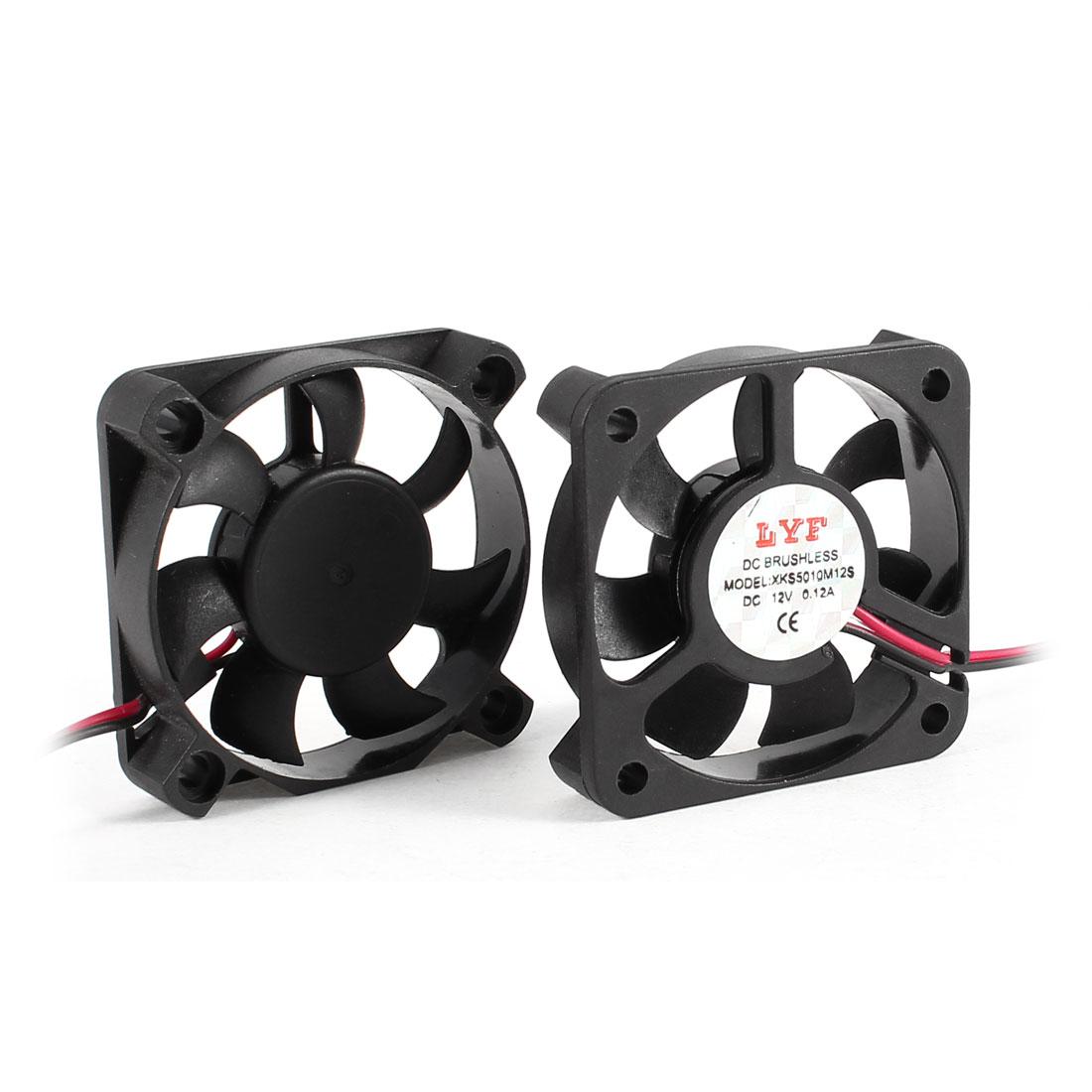 2 Pcs 2 Pole 50mm Square Computer CPU Cooling Fan Cooler Black