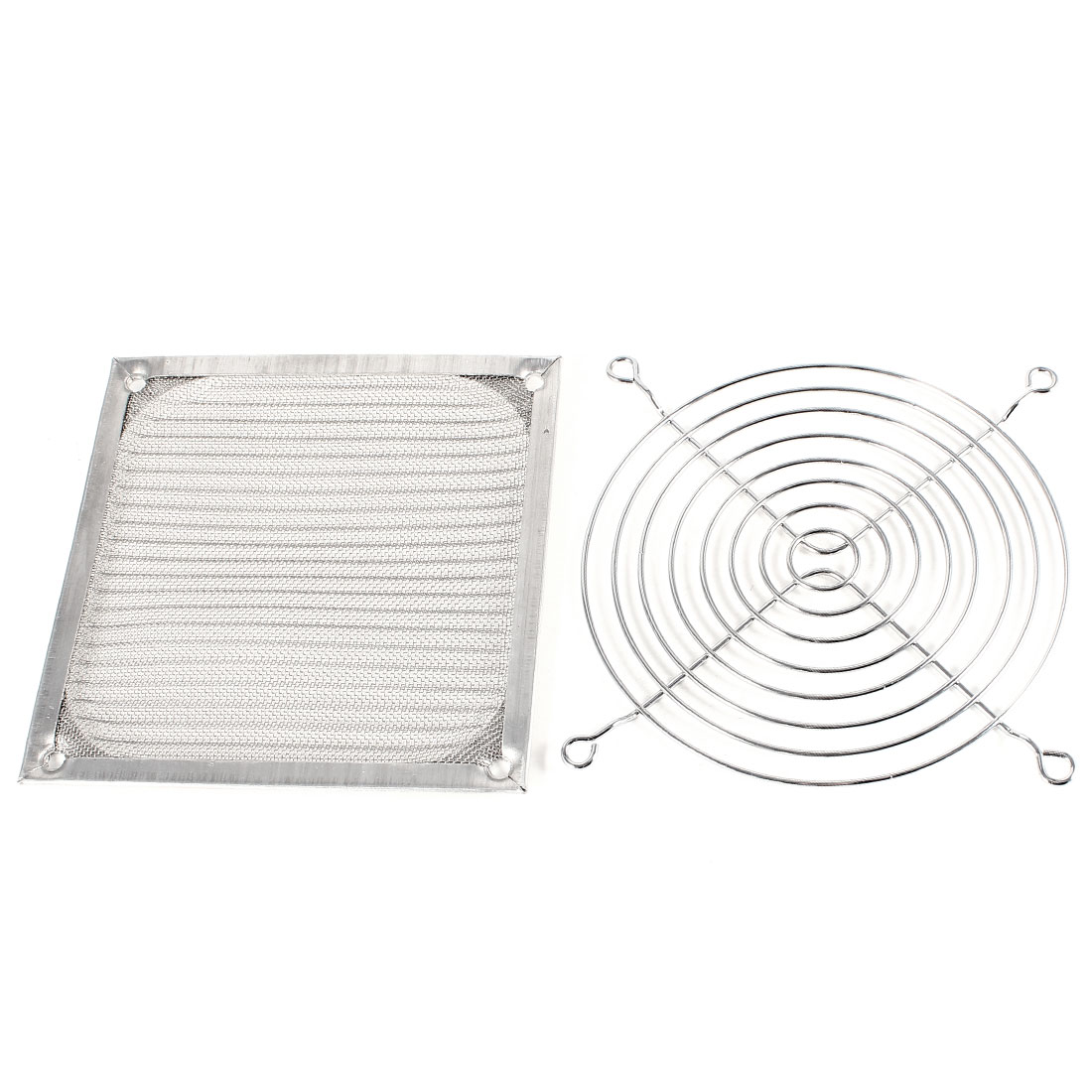 120mm PC Computer Case Fan Grill Guard w Dust Filter Silver Tone