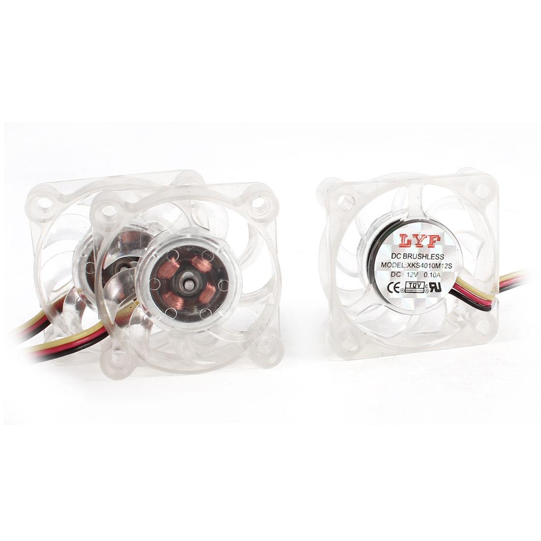 40mm Square Clear Computer Cooler Cooling Fan DC 12V 0.10A 3 Pcs