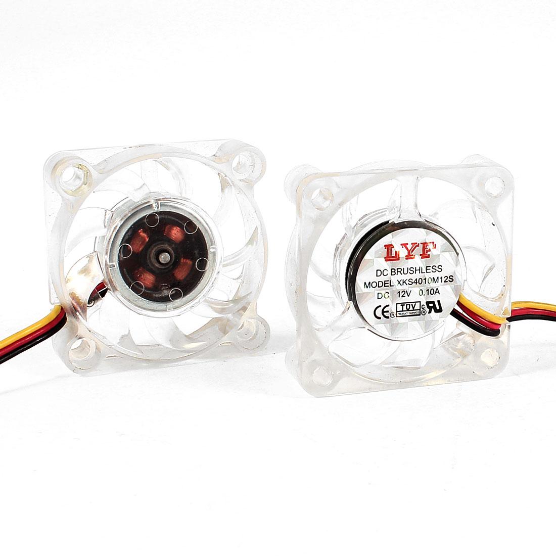 DC 12V 0.10A 4cm 40mm 3 Pins DC Brushless CPU Cooler Cooling Fan 2 Pcs