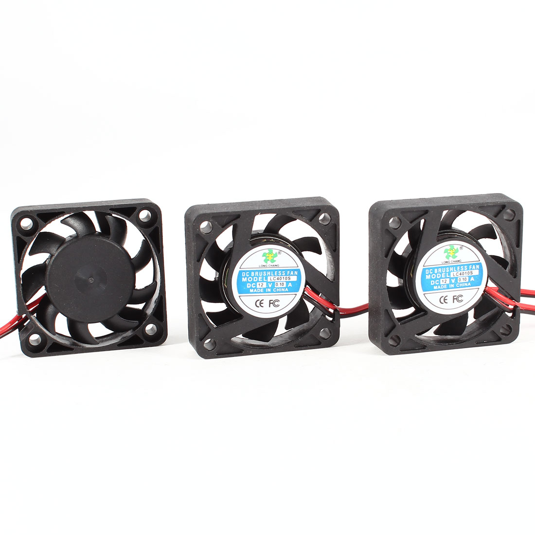 3 Pcs 4cm 2 Pole DC Brushless 12VDC 0.10A CPU Cooler Cooling Fan Black