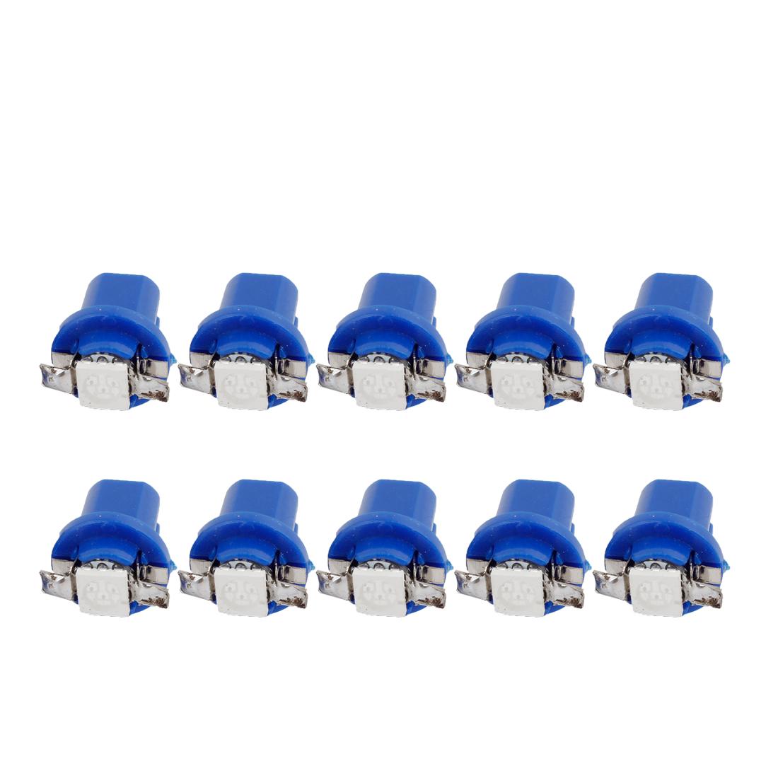 Car T5 B8.5D 5050 1 SMD LED Light Bulb Dashboard Guage Lamp Blue 10 Pcs internal