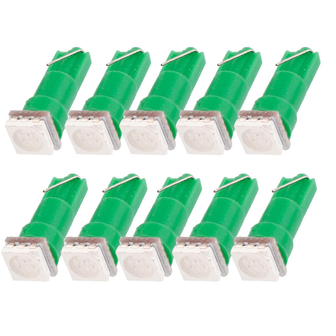 10 Pcs Car T5 Wedge Base 5050 SMD 1-LED Bulbs Dashboard Lights Lamps Green