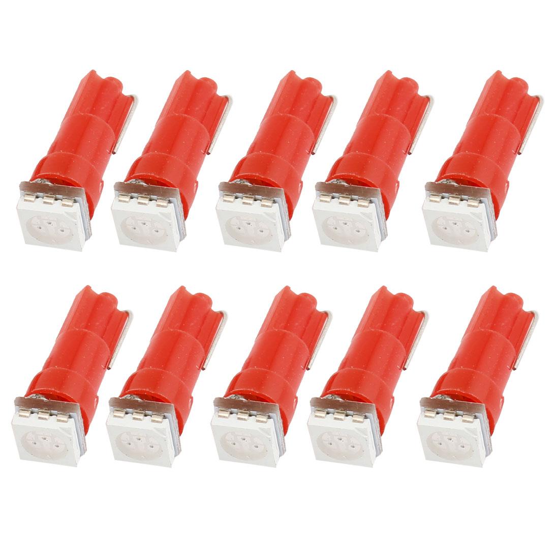 DC 12V T5 5050 Red SMD LED Car Truck Side Lights Dashboard Lamps Bulbs 10pcs