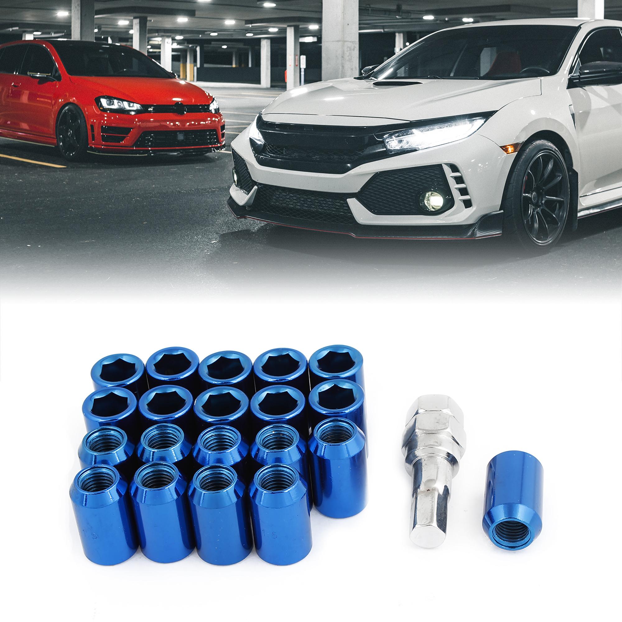 21 Pcs Car Blue Metal 12mmx1.5 Wheel Lock Tyre Tuner Lug Nut Set