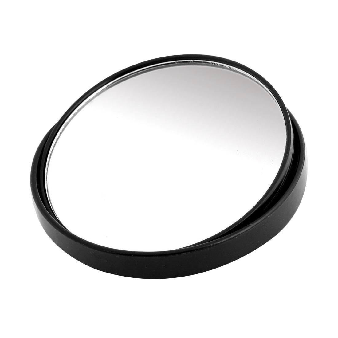 Car Black Frame 8cm Dia Adhesive Back Convex Blind Spot Mirror Rearmirror