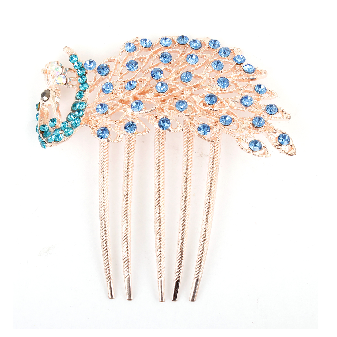 Teal Blue Sparkly Rhinestone Detail Metal Prong Peacock Hair Comb Clip Copper Tone