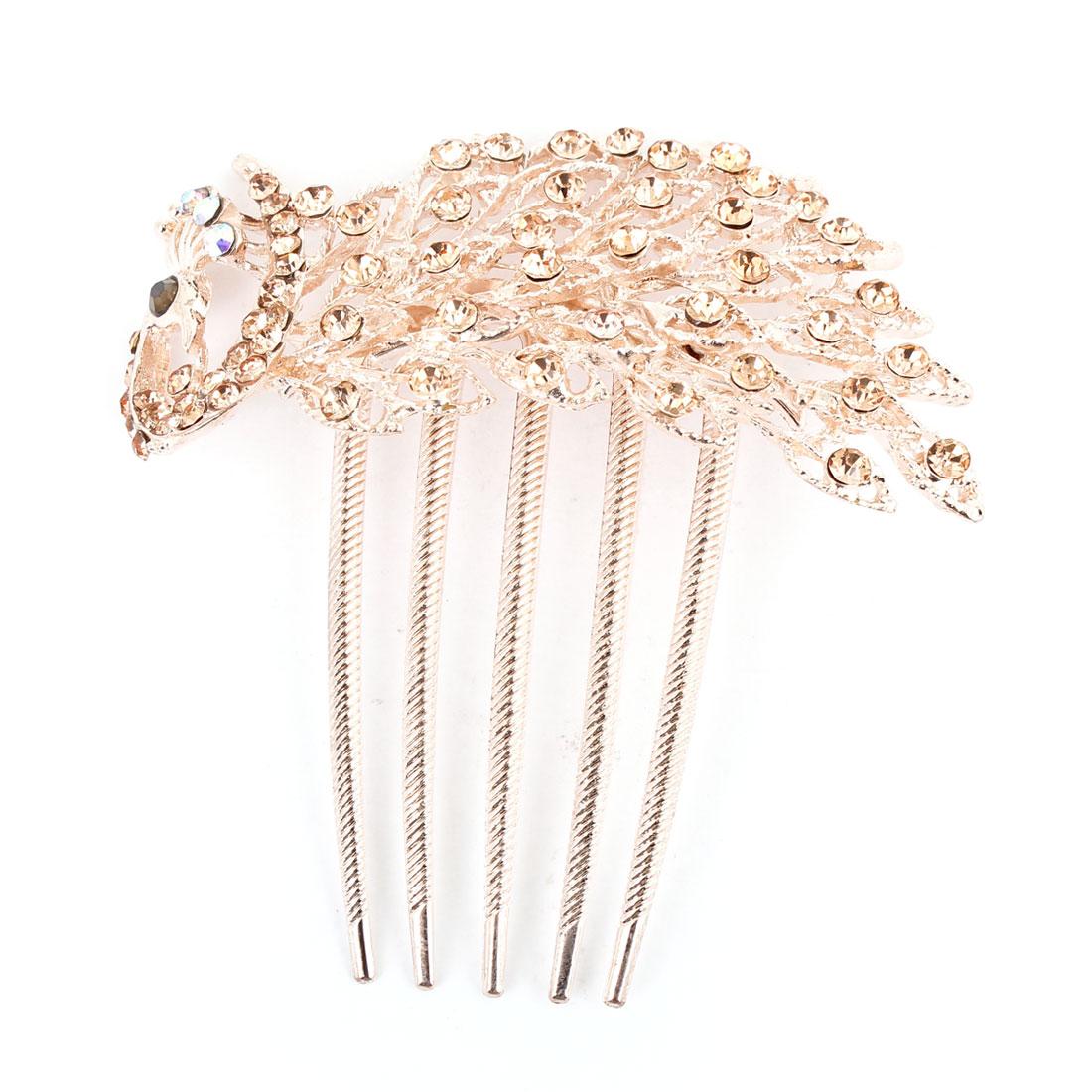 Bling Rhinestone Detail Metal Prong Peacock Hair Comb Clip Gold Tone