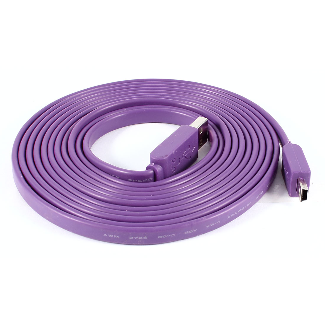 Purple USB 2.0 Type A Male to Mini USB Male Cable Lead 3 Meters