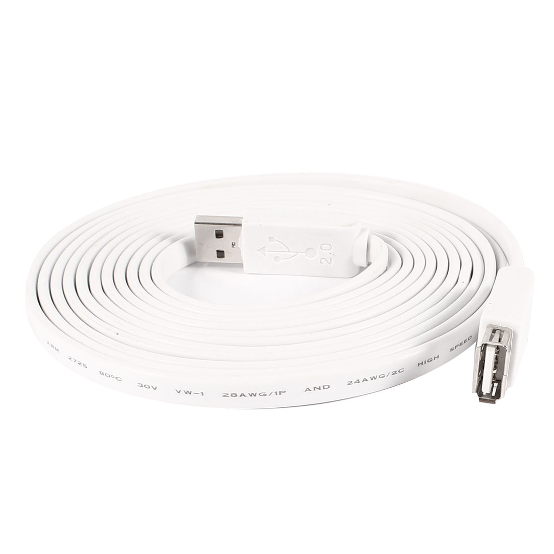 USB 2.0 Type A Male to Female M/F Connector Flat Cable 3 Meters White