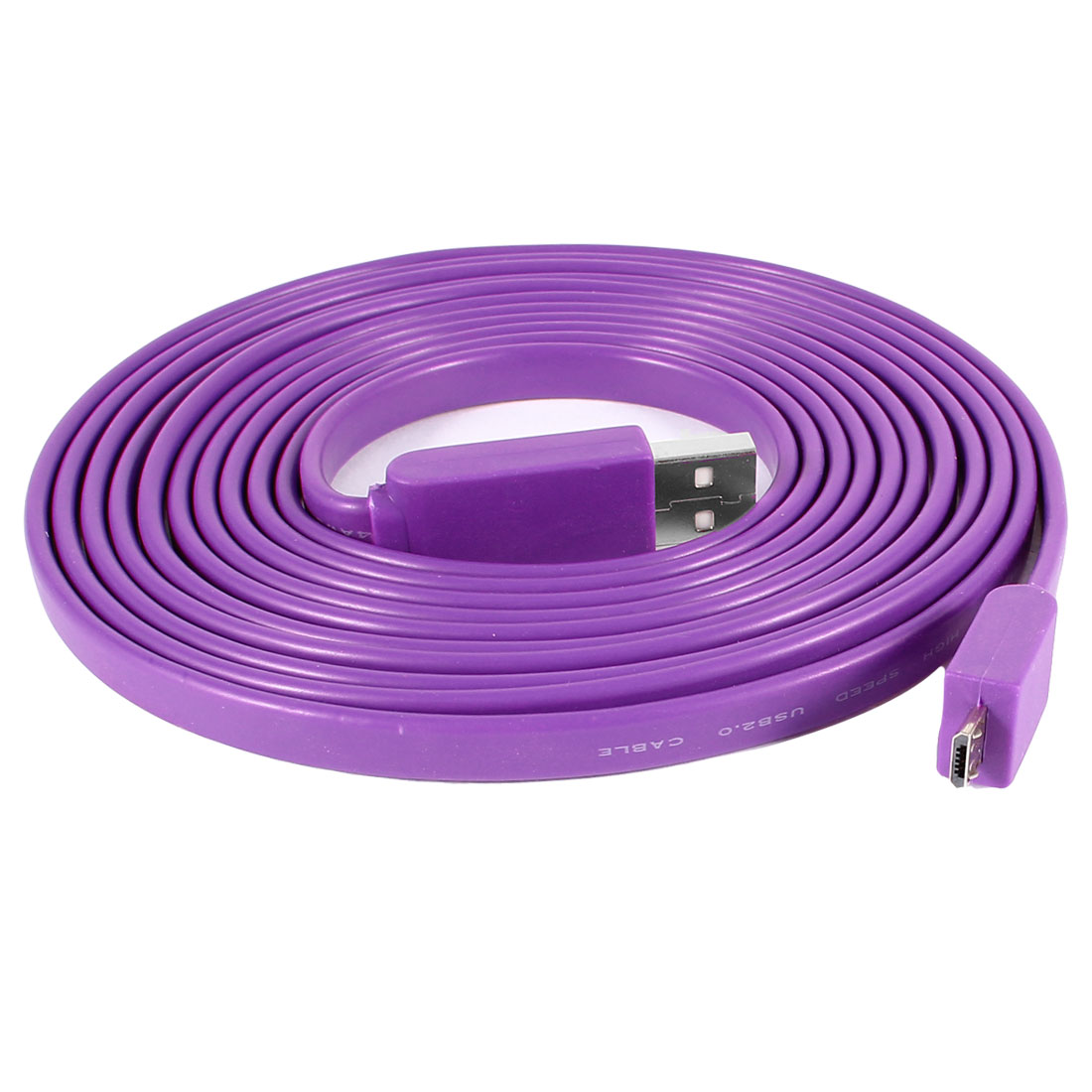 9.8ft USB 2.0 Type A Male to Micro USB Male Adapter Flat Cable Cord Purple