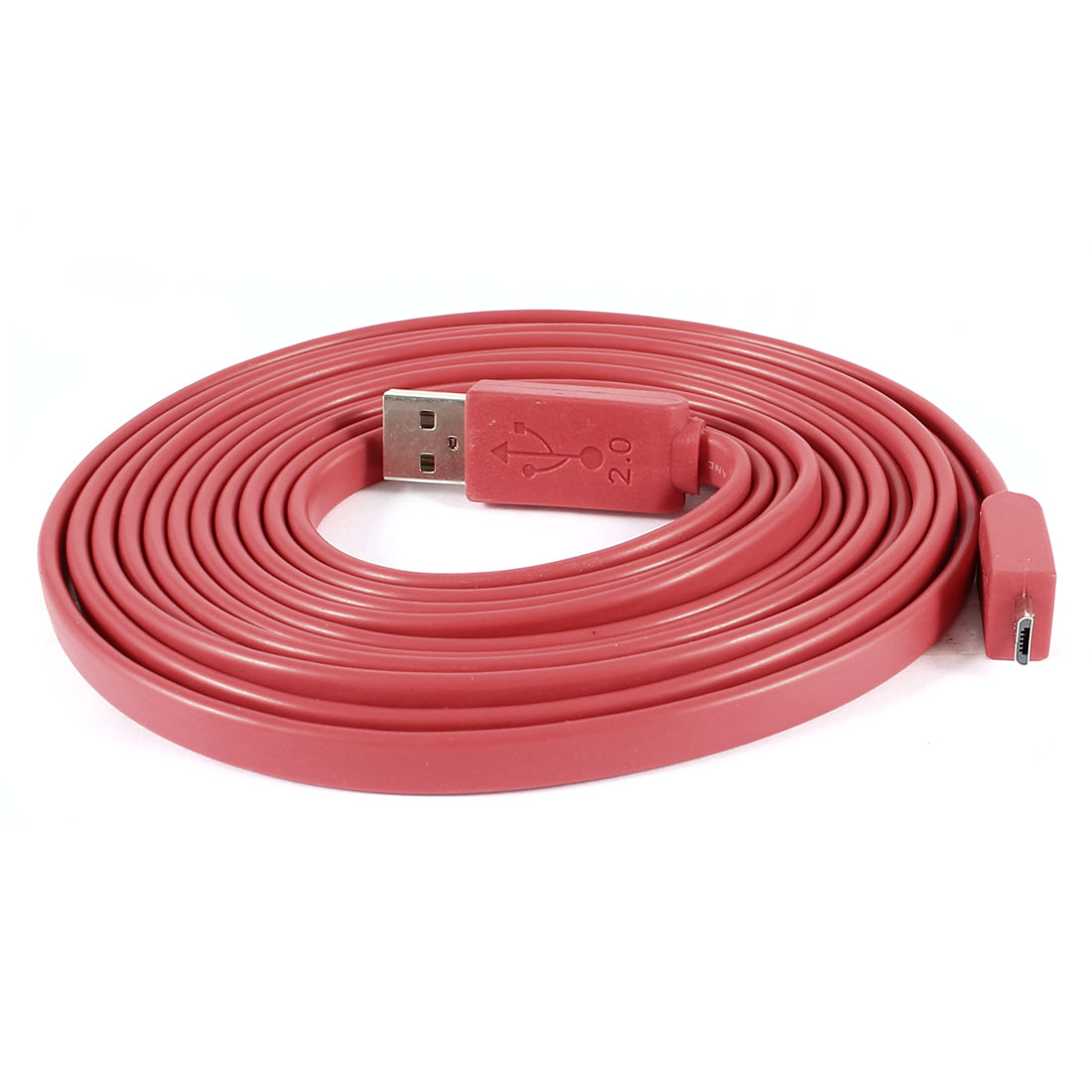 USB 2.0 Type A Male to Micro USB Male High Speed Flat Cable Cord Red 3Meter
