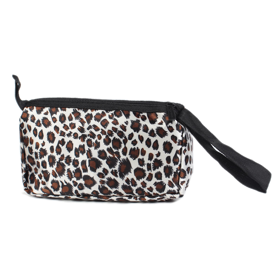 Brown White Leopard Printed Black Zipper Cosmetic Bag Pouch w Mirror